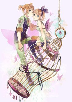 "For some reason.I keep seeing ""Cage"" type Artworks. Rin And Len! Kagamine Rin And Len, Kaito, Vocaloid Len, Manga Art, Manga Anime, Anime Art, Kawaii Girl, Kawaii Anime, Chibi"