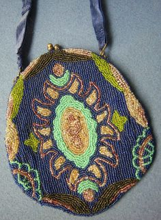 Vintage Beaded Purse Handbag - Great Design & Colors #MaryFrances #EveningBag