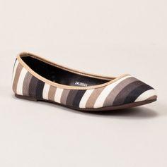 Striped Ballet Flat in neutrals