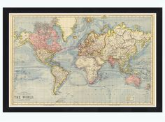 Always wanted one of these http://www.etsy.com/listing/162104076/vintage-world-map-1883-mercator