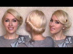 Rolled updo hairstyle for medium long hair - retro twist tutorial inspired by Charlize Theron