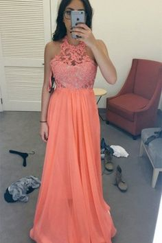 Orange chiffon lace handmade prom dress ,long evening dress