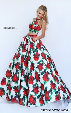 2016 Sherri Hill 50115 Long Two Piece Floral Printed Prom Dress