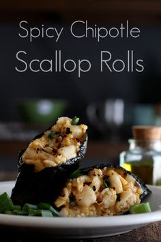 Spicy Chipotle Scallop Rolls - Mildly sweet bay scallops blended with smokey chipotle mayo and rice (or cauliflower rice), all wrapped up in nori sea vegetables.