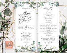 Editable Wedding Program Template Order Of Ceremony Template | Etsy Office Depot, Wedding Ceremony Programs, Wedding Seating, Program Fans, Invitation Envelopes, Wedding Invitations, Invitation Wording, Wedding Stationery, Invitation Cards