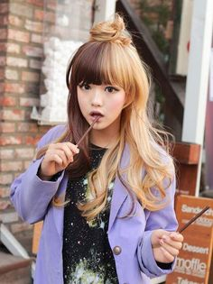 Gradient hair color... Not something I'd ever do, but it looks cool on her!