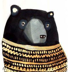 Beautiful illustration Black Bear by Emilya Fox