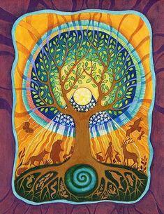 Beautiful Tree of Life Artwork Tatoo Tree, Tree Tattoos, Arte Popular, Tree Art, Tree Of Life Artwork, Tree Of Life Painting, Sacred Geometry, Folk Art, Artsy