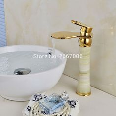 Free shipping Unique Art Design Copper With Marble Stone Jade Mixer Faucet Golden Basin Tap Hot Cold Faucet Tap Waterfall ZR467 #Affiliate