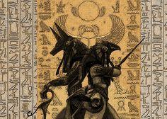 Anubis and Horus by Dandelum Osiris Tattoo, Horus Tattoo, Anubis Tattoo, Anubis And Horus, Anubis Symbol, Egypt Concept Art, Egyptian Tattoo Sleeve, Ancient Egypt Art, Ancient Aliens