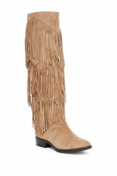 7f954ecf92835  295 SAM EDELMAN Pendra Tall Fringe Leather Suede Boots Riding Tan 5 5.5 6  6.5