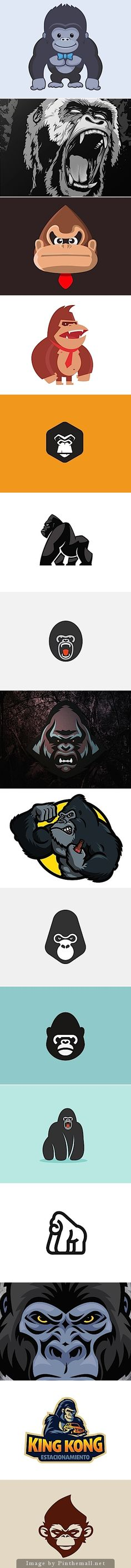 Gorilla illustration collection to show the various styles of vector illustration possible. Helpful for research especially for logo work.