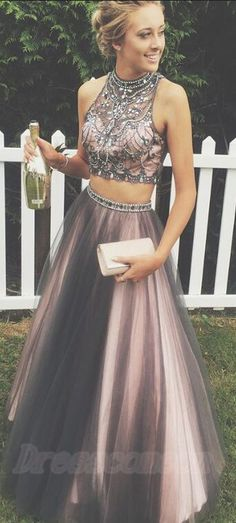 Sweet 16 Dresses,Modest Prom Dresses For Teens,Prom Dresses 2017,Two Pieces Prom Dresses,A-line Tulle Prom Gowns,Halter Beading Evening Dresses,Beautiful Party Dresses,Cute Dress