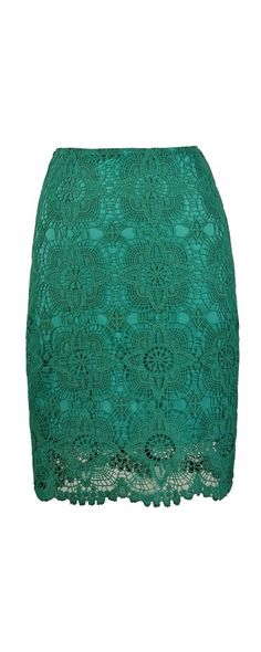 Star Flower Crochet Lace Pencil Skirt in Jade  www.lilyboutique.com