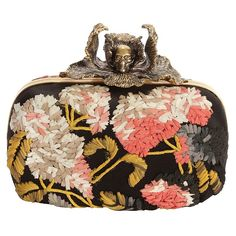 alexander mcqueen - floral iris skull box clutch