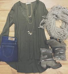 "Tranisiton easily into f a l l with these new arrivals ❁  Olive Lace Detail Tunic $34 Naughty Monkey ""Poncho"" Boot $138 Big Star Ella High Rise Skinny $118 Fringe Infinity Scarf $18  CALL to order ☏ Marysville 360.716.2982 
