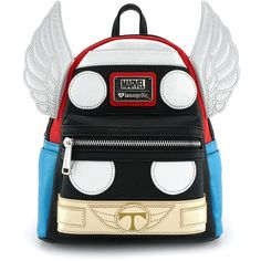 Loungefly x Marvel Thor Cosplay Mini Backpack (£52) ❤ liked on Polyvore featuring bags, backpacks, vegan bags, vegan leather backpack, fake leather backpack, day pack rucksack and knapsack bag