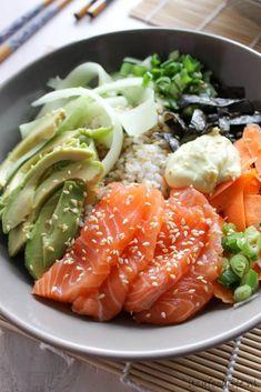 Sushi in een kom aka Poké bowl - It's a food life A Food, Good Food, Yummy Food, Tasty, Sashimi, Sushi Bowl, Taco Bowls, Poke Bowl, Asian