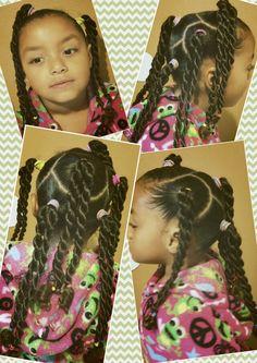 Mixed natural black girls kids hair rope braid pretty easy simple cute curly biracial