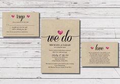 Custom Printable Wedding Invitation Set  'We Do