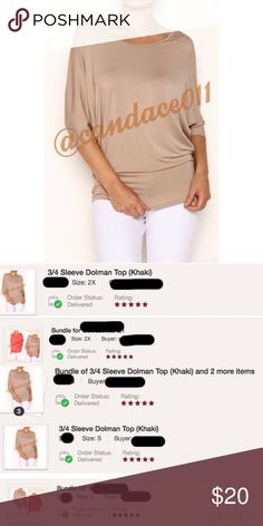 ⭐️5 STAR rated!⭐️ 3/4 Sleeve Dolman Top (Khaki) ✳️Feel free to make a reasonable offer. 👍 ✳️ 🔹Rayon Modal: 95% Rayon, 5% Spandex  🇺🇸Made in the USA🇺🇸 🔹Size Recommendations: S (2-4) M (6-8) L (10-12) XL/1X (14-16) 2X (18-20) 3X (22-24) CC Boutique  Tops Tees - Short Sleeve