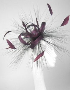 Plum 110 Fascinator Hat for Weddings Races and by Hatsbycressida...