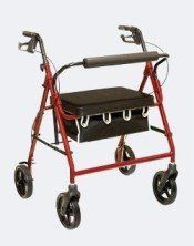 "1 EACH OF Bariatric Rollator 400lbs Weight Capacity - Burgundy by ProBasics. $132.34. Adjustable handle height. Large 20"" x 13"" padded seat. 90 day warranty on brake cables. Weight Capacity 400 lbs.. Loop brakes. Three year warranty on rollator frame. Large 8"" casters. This Bariatric Rollator by ProBasics features large 8"" casters for smooth transport on all surfaces. A height adjustable handle, large padded seat, wire basket and loop brakes make this an ideal rollato..."