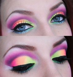 Neon shadows makeup. This looks wild but would be cute for a 'dress up' day