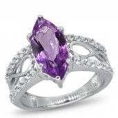 Royal Jewels Collection, Marquis Amethyst and White Topaz Sterling Silver Ring