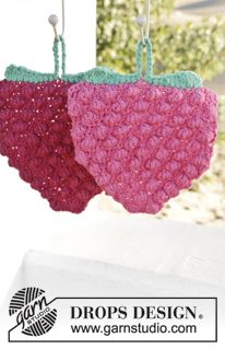 "Berry Hot! - Crochet DROPS raspberry pot holder in ""Paris"". - Free pattern by DROPS Design"