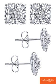 Stunning 14k White Gold Diamond Stud Earrings by Gabriel & Co. The details and designs in these square and beautiful diamond earrings are absolutely gorgeous and unique. Find all your perfect Gabriel daring designed pieces at our website www.gabrielny.com!