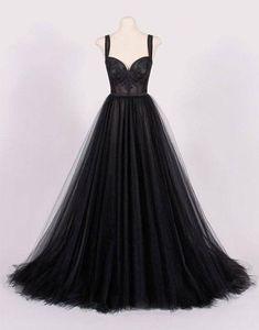 Custom made black tulle long prom dress, black evening dress   #promdresses #fashion #shopping #dresses #eveningdresses