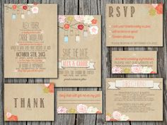 Wedding Invitation Suite Set - Printable, Custom, DIY - RUSTIC, KRAFT Paper, Jars (Wedding Design #6)