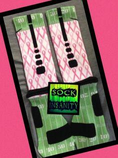 """Pink Out Game"" Custom Nike Elite Socks by Sock Insanity. #storenvy #sockinsanity #BCA #pinkribbon #pinkout #breastcancerawareness Adidas Shoes Outlet, Nike Shoes For Sale, Nike Shoes Cheap, Nike Free Shoes, Cheap Nike, Silly Socks, Cool Socks, Awesome Socks, Nike Elite Socks"