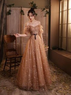 Elegant Champagne Evening Dresses Female Lanturn Sleeves Bow Lace Up Long French Style Ball Gowns For Host Annal Party Banquet - Champagne / 10