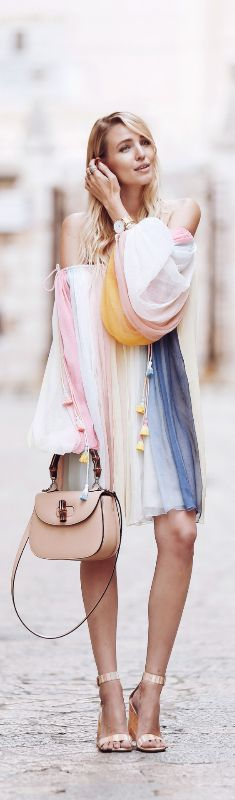 Chloe Off The Shoulder lRainbow Dress // Fashion Look by Ohh Couture