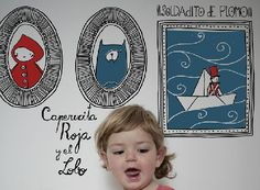 Red Riding Hood Sticker by Hommu little red, red riding hood, red ride, babi, wall stickers, ride hood, mariadiamant, illustr, kid