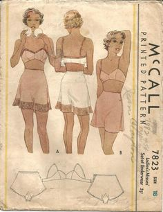 1930s Tap Panties Side Buttoning and Bandeau Bra Women's Underwear ORIGINAL McCall 7823 ©1934 Bust 36 Women's Vintage Sewing Pattern by kinseysue on Etsy https://www.etsy.com/dk-en/listing/255812460/1930s-tap-panties-side-buttoning-and