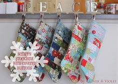 Scrappy Stockings with Covered Button {Tutorial}, these are so cute.