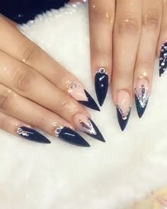 Which nail polish brand should be used for stiletto nails? - Page 3 of 9 - Nails - NailiDea - nail design ideas - Nail Swag, Rhinestone Nails, Bling Nails, Cute Nails, Pretty Nails, Stiletto Nails Glitter, Fishnet Nails, Nagel Bling, Gothic Nails