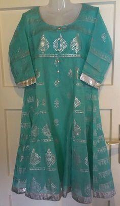 Indische Baumwolle Kurta,Bollywood Salwar Kameez,indische Gr. XL, tuerkis -silber, 3/4 Arm