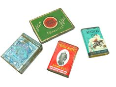 Vintage Tobacco Tins - Set of 4 - Lucky Strike Prince Albert Kentucky Club Edgeworth by EitherOrFinds on Etsy