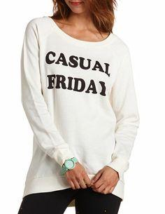 Fleece Hi-Lo Sweatshirt: Charlotte Russe - http://AmericasMall.com/categories/womens-wear.html
