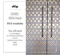 "This quick and easy IKEA hack will require minimum effort but is guaranteed to have big impact. With brand new Cole and Son Hicks' Hexagon wallpaper on the classic PAX wardrobe, it is guaranteed to make everyone go ""WOW!!"" read more on the blog www.seasonsincolour.com #boudoir #makeuproom interiors interior styling makeover IKEA HACK, PAX upcycle"