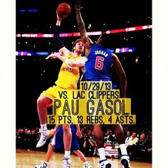nbamaniacss:  GOOD JOB PAU!  #lakers #paugasol #gasol #clippers #nba #basketball #yesterday #score #LA #losangeles #golakers  Yay he's show them he could run the lakers by himself!!!!!! :-D