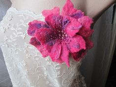 Spectacular and exotic,this flower brooch is made with wet felting tecnique with superfine merino wool. Magenta Flowers, Felt Flowers, Felt Brooch, Nuno Felting, Handmade Flowers, Flower Brooch, Wearable Art, Wool Felt, Merino Wool