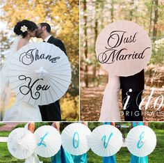 Parasols can be decorated with various words and letters to create the perfect photo.