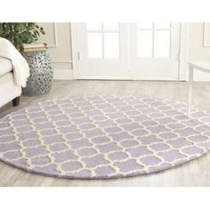 Safavieh Cambridge 9' X 12' Hand Tufted Wool Rug in Lavander and Ivory, White