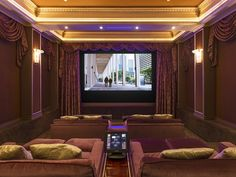Relax and enjoy your favorite film in this private home theater with seating for 10. Magnificent Mediterranean Estate | Beverly Hills