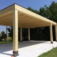 Autocover in legno lamellare Cube Carport Plans, Carport Garage, Pergola Carport, Pergola With Roof, Outdoor Pergola, Gazebo, Backyard Covered Patios, Backyard Sheds, Backyard Patio